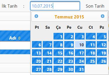 Primefaces Türkçe Calendar