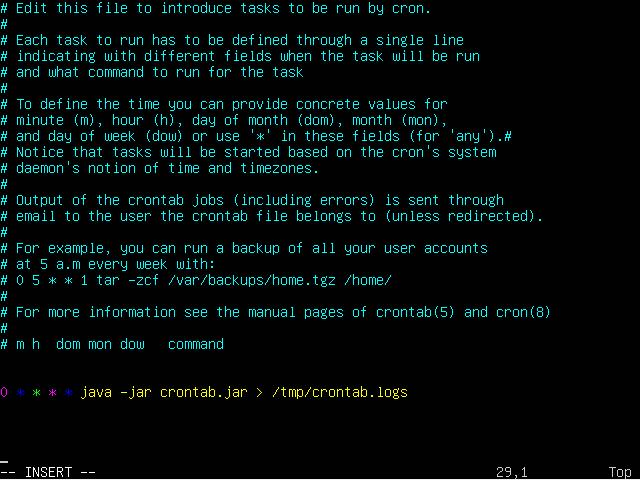 crontab -e - ubuntu -Scheduler